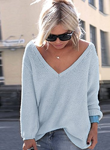 ACHICGIRL Mujer Suéter de Punto Cuello de V Delgado de Moda Azul