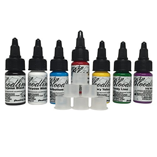 Skin Candy Bloodline Tattoo Ink Set Best 7 Selling Colors 1/2oz + Free 20 Stable Ink Caps Bundle by Bloodline