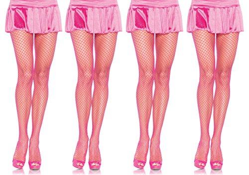 Leg Avenue Women's Spandex Industrial Net Pantyhose Hosiery, Neon Pink, One Size, 4-Pair ()