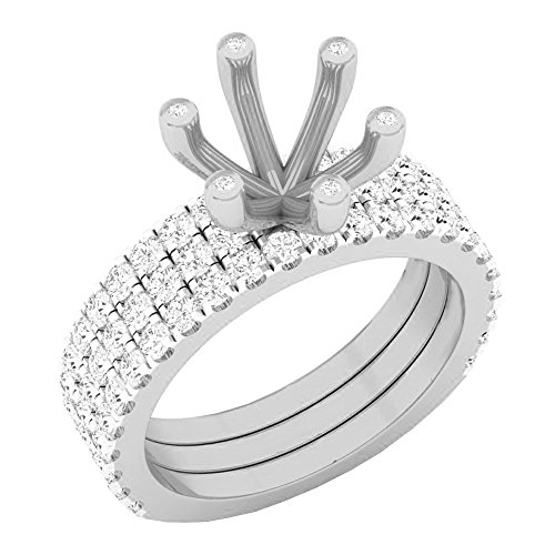 Dazzlingrock Collection 0.90 Carat (ctw) 14K Round Diamond Semi Mount Bridal With Double Band Set, White Gold, Size 6 Band Semi Mount Ring