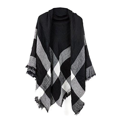Women's Cozy Tartan Blanket Scarf Wrap Shawl Neck Stole Warm Plaid Checked Pashmina (Black White Gray)