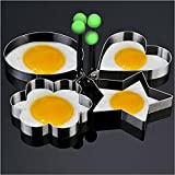 Foutou 4PC Different Shape Omelette Thick Stainless Steel Mini Fried Egg Rings Pancake Mold Cooking Tools for DIY Cakes, Biscuits Delicious Food