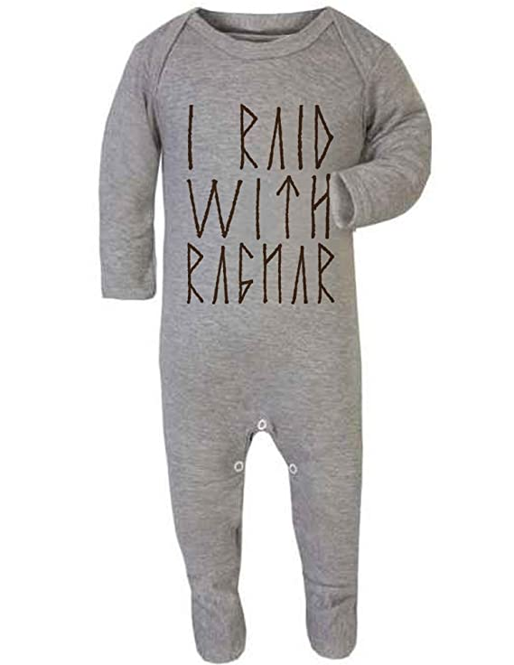 af95a7684 I Raid With Ragnar Vikings Baby Rompersuit/Playsuit: Amazon.co.uk: Clothing