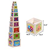 Wondertoys 10 Piece Wooden Nesting Blocks Stacking Boxes Educational Toys for Kids