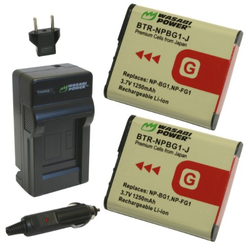 Wasabi Power Battery (2-Pack) and Charger for Sony NP-BG1...