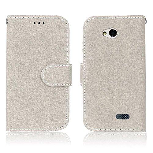YHUISEN LG L70 Estuche, estilo retro de color sólido Premium PU cuero Wallet Case Flip Folio cubierta protectora de la caja con ranura para tarjeta / soporte para LG L70 ( Color : Beige ) Gray White