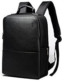 Anti Theft Backpack 15 inch Laptop Business Slim College Shoulder Rucksack Water-Resistant Synthetic Leather Backpack for men, Black