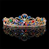 FUMUD Vintage Multi-color Rhinestone Bridal Tiara Fashion Golden Diadem for Women Wedding dress Hair jewelry Princess Crown accessorie (Style2)