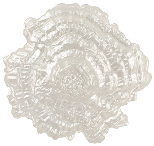 Large Pearlescent Oyster Shell Glass Centerpiece Dish - 14.5