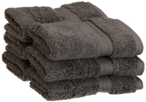 Superior 900 GSM Luxury Bathroom Face Towels, Made of 100% Premium Long-Staple Combed Cotton, Set of 6 Hotel & Spa Quality Washcloths - Charcoal, 13 x 13 each