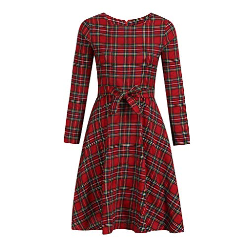 Women's Sexy Retro Long Sleeve Plaid Cocktail Party Long Dress Red XL ()