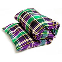 """Large flax heating pad, The """"Flax Sak"""" Microwaveable Hot/cold pack with removable/washable cover (Purple & Green Plaid)"""