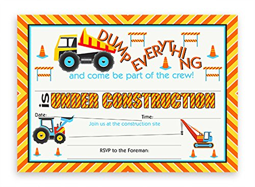 Construction Party LARGE Invitations - 10 Invitations + 10 Envelopes]()