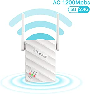 dodocool WiFi Range Extender Up to 1200Mbps, Fast WiFi Repeater 2.4 & 5GHz Dual Band Wireless Signal Booster with Ethernet Port, Support WPS One Button Easy Setup, 360° Coverage WiFi(AP/Repeater Mode)
