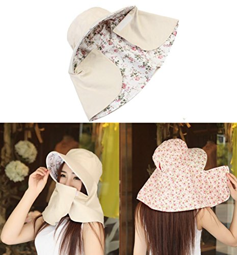 Facial Block - UPSTORE 1PCS UPF 50+ Women Lady Girls Double-Sided Soft Cotton Breathable Wide Large Brim Sun Hat Summer Sun Block UV Protection Cap with Facial Mask and Neck Cover for Outdoor Cycling (Beige)