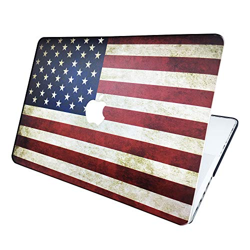 """MacBook Hard Case/Shel Cover. Vinyl/Good Grip Polymeric Material Case Hard Shell Cover (MacBook Air 13.3"""" Models: A1369/A1466, USA Flag Pattern)"""