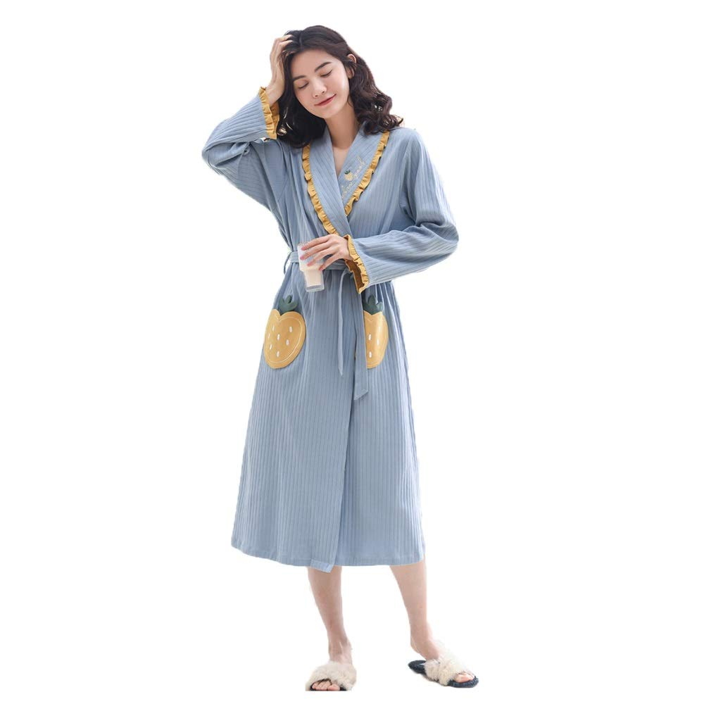 Pajama Sets Spring and Autumn Robes Women's Long Section Thin LongSleeved Robe and Windbreaker Pajamas Home Service (Size   L)