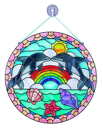 Melissa & Doug Stained Glass Made Easy Craft Kit: Dolphins - 180+ Stickers - Stained Glass Art
