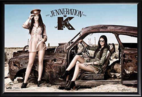 Framed Jenneration K 24x36 Dry Mounted Poster in Basic Detail Wood Frame Kendall Jenner Kylie Jenner