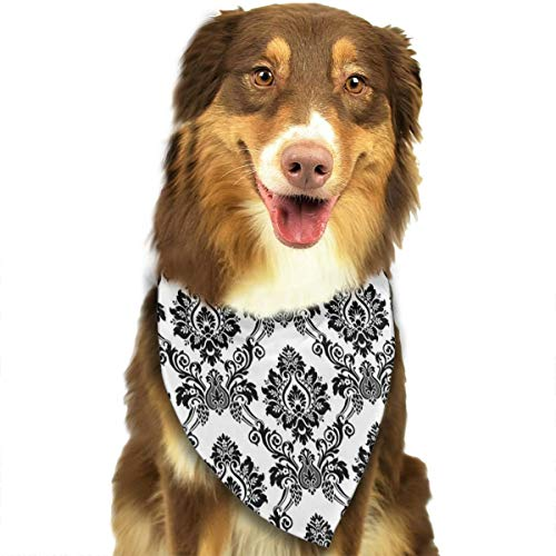 NOWDIDA Dog Bandana Damask Antique Classical Damask Flowers Pattern Traditional Artwork Pet Triangle Scarf Festive Accessory for Puppies