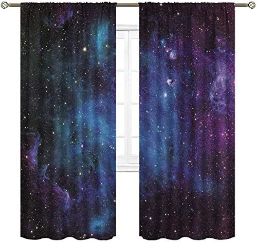 Cinblue Outer Space Galaxy Curtains Rod Pocket Universe Blue Psychedelic Planet Nebula Starry Sky Astronomic Art Printed Living Room Bedroom Window Drapes Treatment Fabric 2 Panels 52 W x 84 L Inch