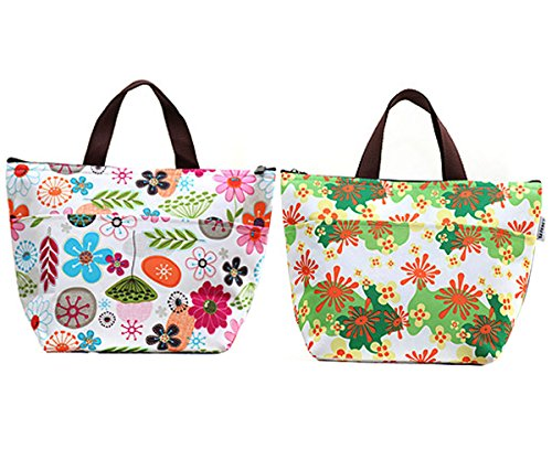 GRFOODS Waterproof Lunch Bag Tote Insulated Cooler Carry Bag for Travel and Picnic (Colorful Flower, 2 Pack) (Cooling Dish compare prices)