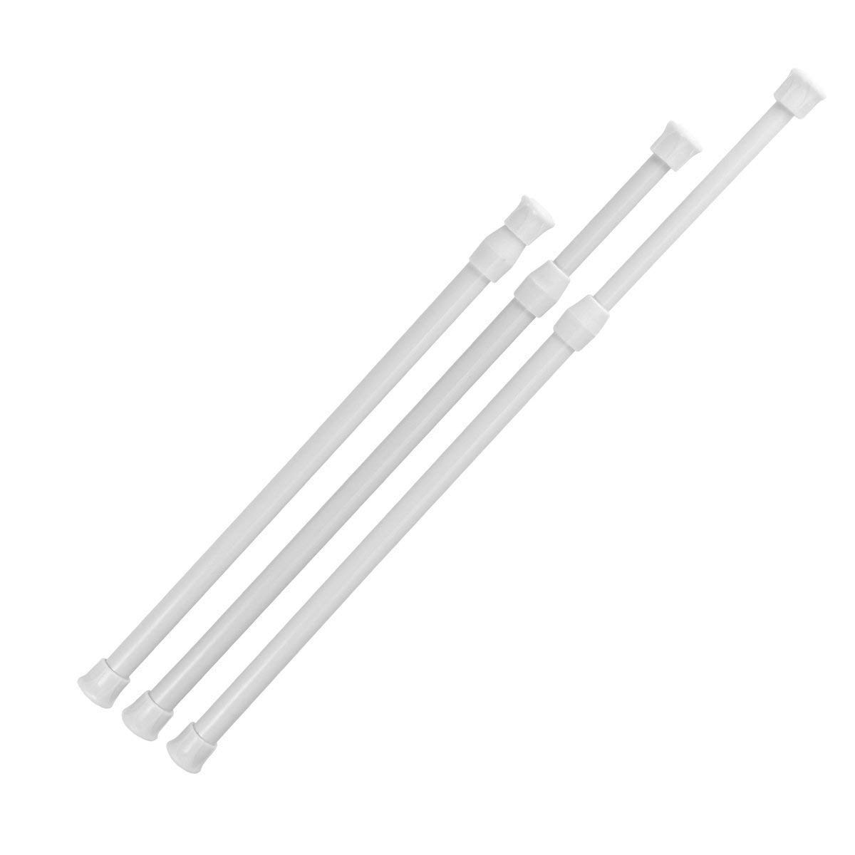 AIEVE Tension Rod,Tension Curtain Rod,3 Pack Adjustable Spring Tension Rods Cupboard Bars for Windows,Wardrobes,11.7 to 20.5 Inches (White)