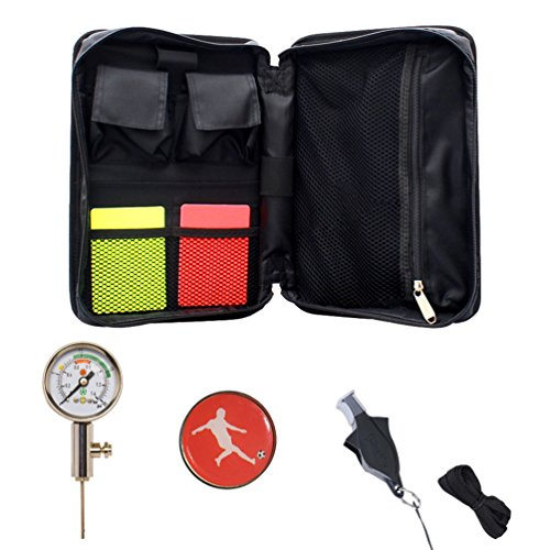 Firelong Soccer Referee Kit Football Soccer Coach Ref Cards Whistle Ball Pressure Gauge Coins in a Multi-Pocket Carryig Bag]()