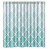 """66""""(w) x 72""""(h) Cute Teal Fade Moroccan Tile Quatrefoil Bathroom Shower Curtain Shower Rings Included, 100% Polyester"""