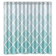 "66""(w) x 72""(h) Cute Teal Fade Moroccan Tile Quatrefoil Bathroom Shower Curtain Shower Rings Included, 100% Polyester"