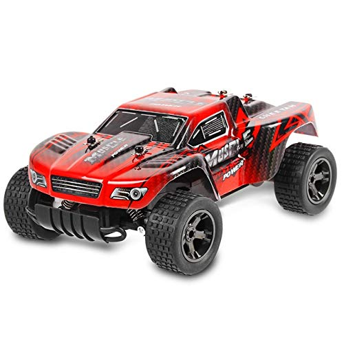 BeesClover 2.4GHz 1:18 RC Car RTR 20km/h Racing Cars Shock Absorber Off Road Truck Impact-Resistant PVC Shell Children Toys red