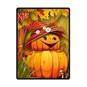 Autumn Bright Pumpkins Scarecrow Custom Fleece Blanket Throw Blanket 58 x 80 (Large)