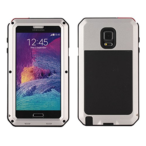 Galaxy Note 4 Case, Tomplus Extreme Hard Military Heavy Aluminum Metal Armor Tank Gorilla Glass Shockproof Rainproof Resistant Protection Cover Case For Samsung Galaxy Note 4 N9100 (silver)