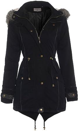 Women's black parka coats with fur hood uk
