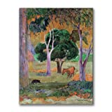 This ready to hang, gallery wrapped art piece features a landscape of trees and animals. Paul Gauguin was a leading Post-Impressionist painter. His bold experimentation with coloring led directly to the Synthetist style of modern art while his expres...