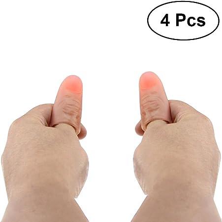 LEDMOMO Lámpara LED para Dedo, 4 Piezas Truco Finger Soft Thumb Tip Luz para Pulgar Super Bright Parpadeo Lámpara de Dedo (Luz Roja): Amazon.es: Juguetes y juegos