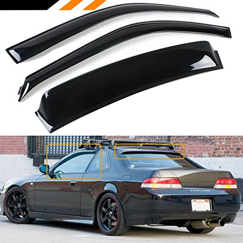 Cuztom Tuning For 1997-2001 5th Generation Honda Prelude Rear Window Roof Visor + Rain Guard Door Visor ()