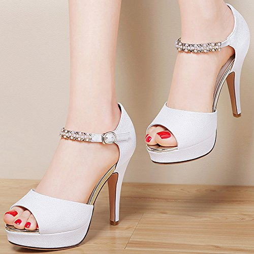 Mouth High HGTYU Fish Shoes Waterproof Fine White A 9Cm Female Shoes All Heeled Summer In Match Sandals With 7RRfAEx