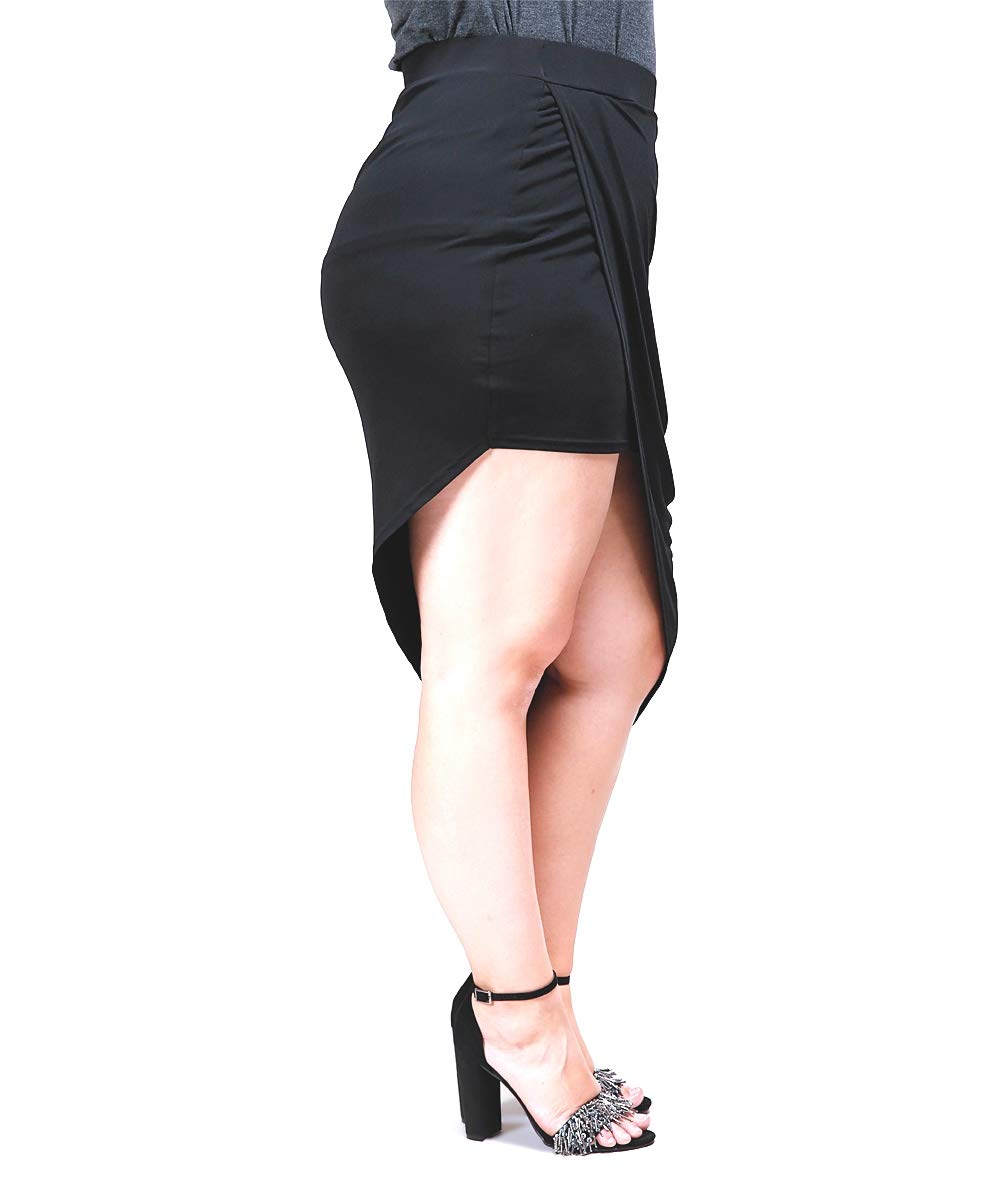 WOMENS Plus Size BLACK ponte Skirt  Stretch HIGH WAISTED PONTI LIBIAN LS4888