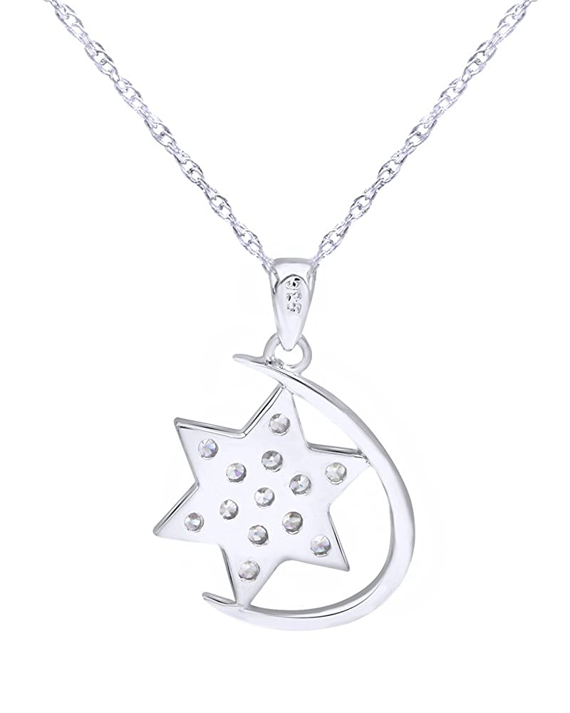 Wishrocks Round Cut White Cubic Zirconia Star Pendant Necklace in Sterling Silver