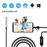 USB Endoscope, KinCam 3 in 1 Semi-Rigid USB Borescope 1200P HD with 5.5mm Waterproof Snake Camera with 6 Adjustable Led for Android Smart Phone, Tablet, PC & MacBook (5M / 16.5FT)