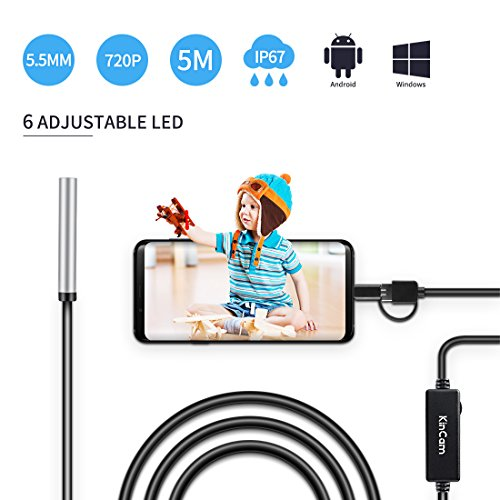 USB Endoscope, KinCam 3 in 1 Semi-rigid USB Borescope 1200P HD with 5.5mm Waterproof Snake Camera with 6 Adjustable Led for Android Smart phone, Tablet, PC & Macbook (5M/16.5FT)