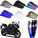 Motorcycle Double Bubble Shield Windshield Windscreen Wind Deflectors Air Flow For Yamaha R3 R25 15-18 (Iridium)