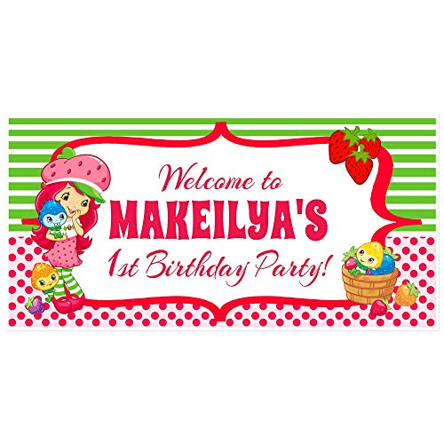 Strawberry Shortcake Birthday Banner Personalized Party Backdrop Decoration (Strawberry Shortcake Birthday Banner)