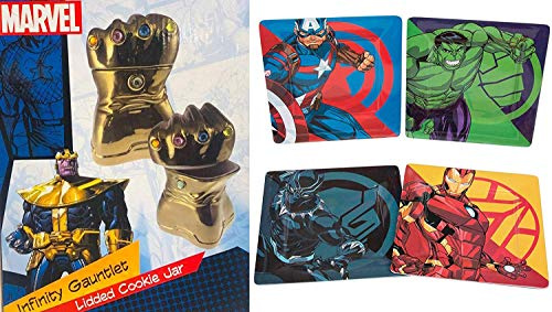are You Strong Enough to Pull Cookies Away from Thanos's Infinity Gauntlet Cookie Jar? The Four Pack of Character Plates Should Help! Super Hero 2 Pack Iron Man Captain America Black Panther Hulk (Cookie Spiderman Jar)