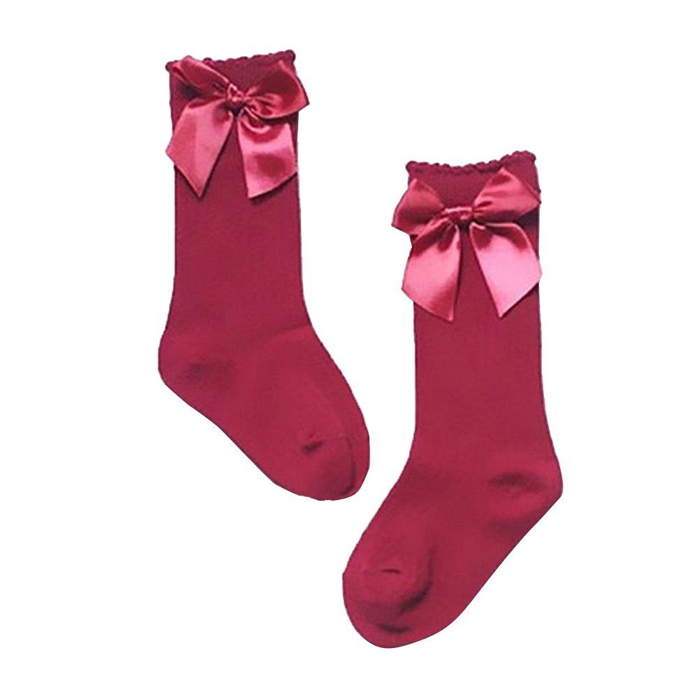 Pu Ran Toddler Baby Girls Bowknot Knee High Sweet Solid Color Cotton Princess Socks