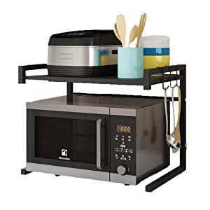 Venus Microwave Oven Rack Expandable Adjustable Metal Kitchen Counter Shelf Tableware Storage Rice Cooker Stand Contains 2 Tiers with 3 Hooks Black U Shape