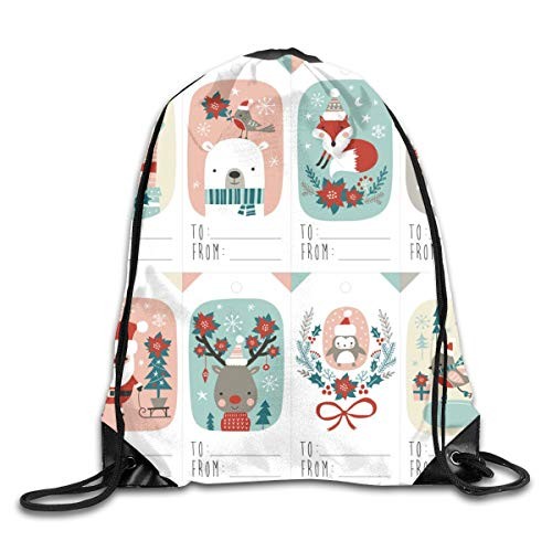 Christmas Gift Tags With Cute Woodland Animals Santa Claus Snowman And Poinsettia Drawstring Shoulder Bags Gym Bag Travel Backpack Lightweight Gym