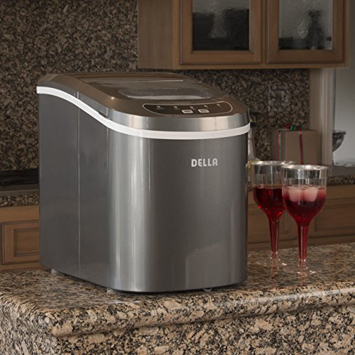 Price comparison product image Della Portable Electric Ice Maker Machine Yield Up To 26 Pounds of Ice Daily - Silver