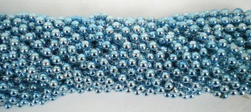 - 33 inch 7mm Round Metallic Light Blue Mardi Gras Beads - 6 Dozen (72 necklaces)